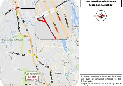 F.D.O.T. reports that the I-95 southbound on and off ramps at Dunlawton Avenue/Taylor Road (S.R. 421) will be temporarily closed tonight (August 30, 2017). Click For Details!
