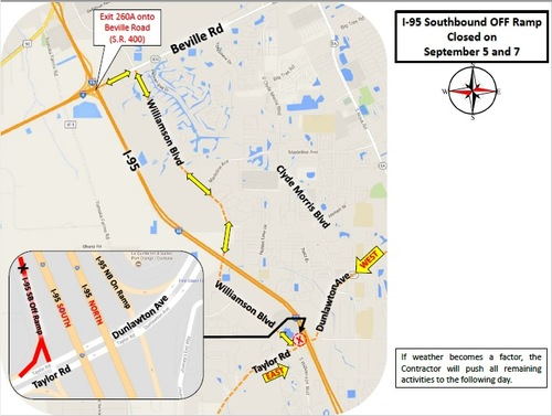 Update: The Port Orange ramp closures have been cancelled for this week.