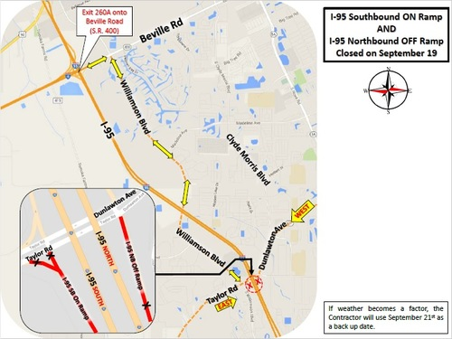 F.D.O.T. is reporting I-95 Port Orange Ramp Closures - Sept 19 - Sept 21