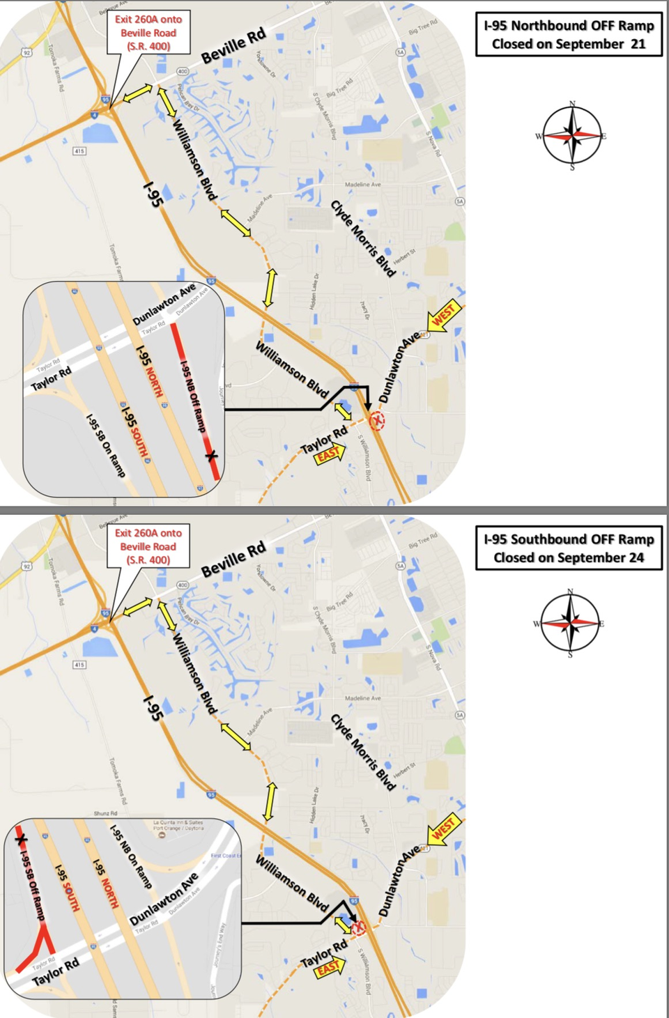 FDOT is reporting I-95 Port Orange Ramp Closures - Sept 21 & 24