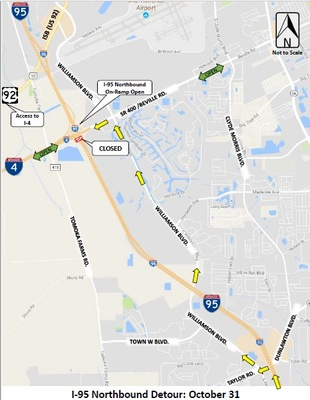 FDOT is reporting I-95 Closures on October 31, 2017 between Dunlawton Ave and International Speedway . . . Click For Details!